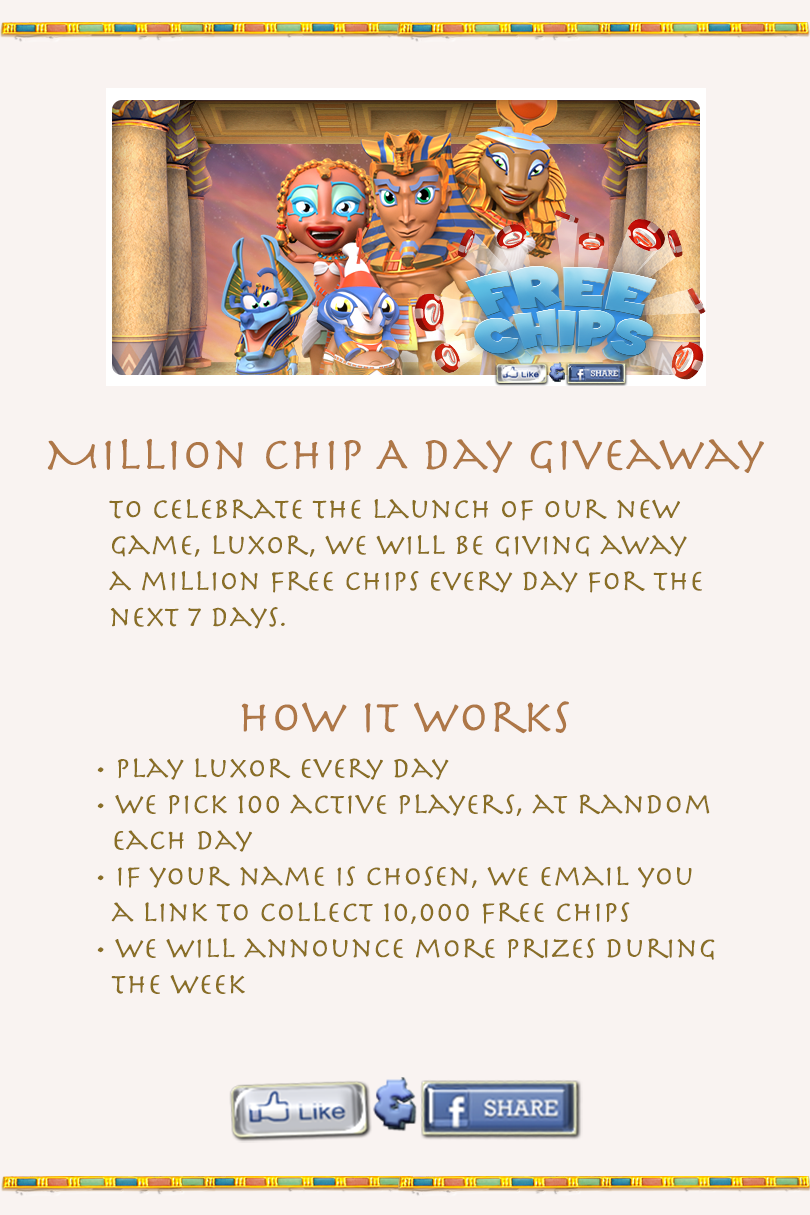 Luxor - MyVegas Million Chip A Day Giveaway | Let the Chips Fall | LetTheChipsFall.com