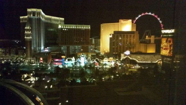 View of the Las Vegas Strip from our Mirage Hotel room window - LetTheChipsFall.com